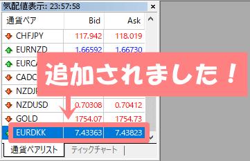 MT4でチャートを表示する(気配値表示もしくは通貨ペアリスト)